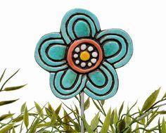 Flower garden art - plant stake - garden marker - garden decor - flower ornament - ceramic flower - blossom - jade