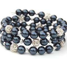 Midnight blue pearls with rhinestone fireballs on memory wire
