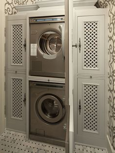 Hendel Homes: Amazing laundry room with gray scroll trellis wallpaper and marble basketweave tile ...