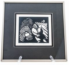 """Linocut """"Dock Sleeper"""" Signed Numbered Dated Black & White Framed #Abstract"""