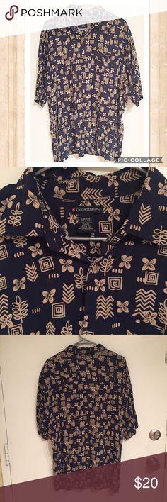 KnightsBridge Navy Hawaiian Button Up Shirt Knights Bridge men's classic navy short sleeve Hawaiian Button Up shirt. Size large.  No modeling Smoke free home I do discount bundles Knights Bridge  Shirts Casual Button Down Shirts
