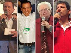 Celso Russomanno (PRB), João Doria (PSDB), Luiza Erundina (PSOL) e Fernando Haddad (PT) tiveram suas candidaturas oficializadas neste domingo (Foto: G1/Nelson Antoine/FramePhoto/Estadão Conteúdo)