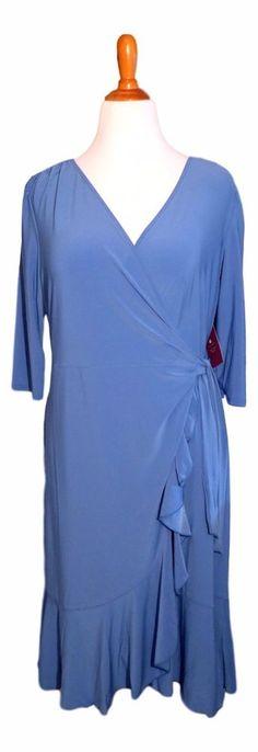 Kiyonna Plus Size Dress Blue True Wrap Whimsy Style 1X 2X  3X 4X 5X Made In USA #Kiyonna #TrueWrap #WeartoWork