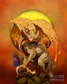 Peanut Butter Dragon by Stanley Morrison - Peanut Butter Dragon Digital Art - Peanut Butter Dragon Fine Art Prints and Posters for Sale Dragon 2, Fantasy Dragon, Baby Dragon, Magical Creatures, Fantasy Creatures, Fantasy Kunst, Fantasy Art, Fantasy Beasts, Fantasy Drawings