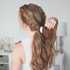 Braided Ponytail Hairstyles, Box Braids Hairstyles, Formal Hairstyles, Cool Hairstyles, Hairstyle Ideas, Wedding Hairstyle, Fishtail Braids, Ponytail Ideas, Braid Hair