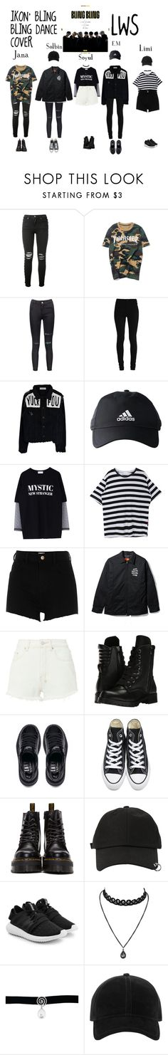 """""""IKON DANCE COVER"""" by yumi-ssi ❤ liked on Polyvore featuring AMIRI, WithChic, adidas, River Island, Ksubi, Capezio, Puma, Converse, Dr. Martens and StyleNanda"""