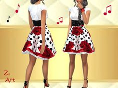 The Sims Resource: The Fifties dress by Zuckerschnute20 • Sims 4 Downloads