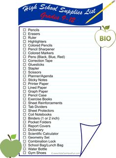 High School (9-12) Supplies List is all you need to get students ready for back to school http://www.kidscanhavefun.com/back-to-school.htm #backtoschool #schoolsupplies #highschool