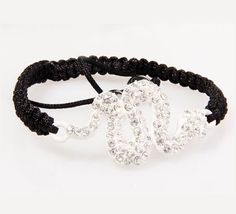 White Snake Rhinestone Crystal Disco Ball Beaded Charm Bracelet Bangle
