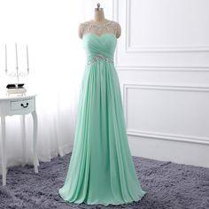 Mint Green Long Prom Dress,2017 Custom Made Beading Chiffon A-Line Evening…