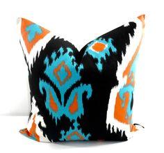 Orange  Ikat  Pillow cover. Ikat orange and Black  Sofa Pillow cover. Throw pillow cover. Euro pillow case. Select size by TwistedBobbin, $10.00 USD