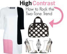 """High Contrast - How to Rock the Two-Tone Trend"" by latoyacl ❤ liked on Polyvore"