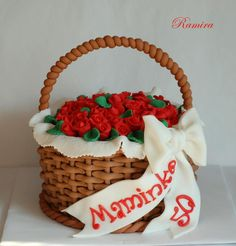 Basket Cake With Roses  on Cake Central