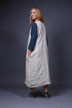 Linen apron dress / Work apron dress / natural linen by LinenCloud