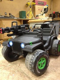 Remodeled barbie jeep someone did. Someone my bat key! Custom Power Wheels, Kids Power Wheels, Power Wheels Jeep, Toy Cars For Kids, Kids Toys, Toys For Boys, Modified Nerf Guns, Nerf Gun Storage, Cool Nerf Guns