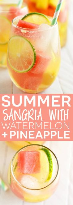 Summer Sangria with Watermelon and Pineapple - a super refreshing cocktail you must make this summer! From What The Fork Food Blog | http://whattheforkfoodblog.com/?utm_campaign=coschedule&utm_source=pinterest&utm_medium=Sharon%20%7C%20What%20The%20Fork%20Food%20Blog&utm_content=Summer%20Sangria%20with%20Watermelon%20and%20Pineapple