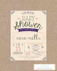 Printable Vintage Shabby Chic Baby Shower Invitation