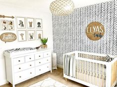 Baby Nursery: Easy and Cozy Baby Room Ideas for Girl and Boys modern safari gender neutral nursery with wood accents and black and white chevron walpaper