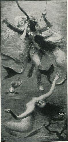 sirènes 'Geträumt', Illustration from 'Meggendorfers humoristische Blätter', Issue 1896 Mythological Creatures, Fantasy Creatures, Mythical Creatures, Sea Creatures, Vintage Mermaid, Mermaid Art, Mermaid Illustration, Illustration Art, Mermaids And Mermen