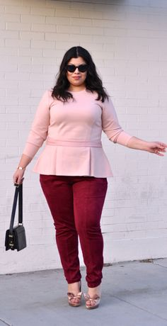 Valentine's Day outfit! Pink peplum and red suede pants.   #plussize #plussizefashion