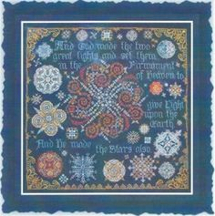 Galactic Galliard is the title of this cross stitch pattern from Tempting Tangles that is stitched with Weeks Dye Works