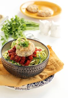 Cauliflower-Feta Meatballs with Spicy Moroccan Tomato Zucchini Noodles from Inspiralized #FitFriday