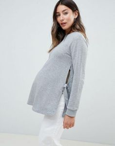 A Pea in the Pod Marled Knit Woven Maternity Pullover Side Slits