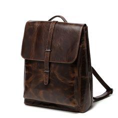 Vintage mochilas de cuero grandes para hombres mochila de viaje de negocios para…