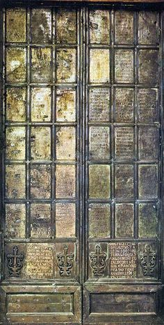 Abbey of Montecassino. This door, which is engraved with the names of the possessions and churches of the abbey