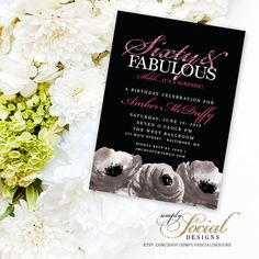 Surprise 60th Birthday Party Invitation with Hot Pink Glitter Black and White Roses Sixty and Fabulous PRINTABLE