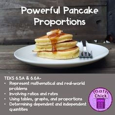 Who doesn't love pancakes? And what is better than pancakes?? Pancake Proportions! This activity allows students to use math in a real-world way in order to make pancakes to feed their class! This lesson is intended to teach how to find equivalent proportions using tables and graphs while also determining the independent and dependent quantities.