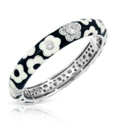 Fleur Collection; Black Bangle Bracelet; Simple and pure, the Fleur Collection is a celebration of nature's paintbrush. Belle Etoile's classic set features vibrant flowers of hand-painted enamel and sparkling stones on rhodium-plated sterling silver in an elegant expression of color and style.