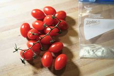 to later! De-stem tomatoes. Remove the stems (unless you have reason to keep them on Cherry Tomato Salsa, Cherry Tomatoes, Can You Freeze Grapes, Frozen Grapes, Canning Recipes, Geek Stuff, Vegetables, Fruit, Simple