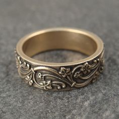 Art Deco Ivy Wedding Band in 14k Yellow by DownToTheWireDesigns