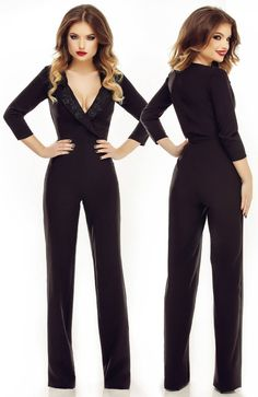 Salopeta eleganta neagra LUCILE Hands On Hips, Jumpsuit, Costume, My Style, Casual, Outfits, Dresses, Fashion, Overalls