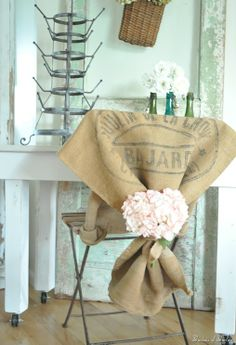 use a #burlap grain sack for a slipcover