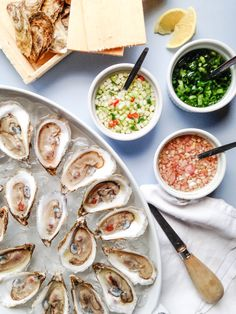 Oysters and three sauces Fish Dishes, Seafood Dishes, Fish And Seafood, Fish Recipes, Seafood Recipes, Oyster Recipes, Party Dishes, Food Inspiration, Love Food