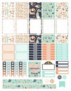 Printable Planner Stickers Woodland Friends Glam by LaceAndLogos