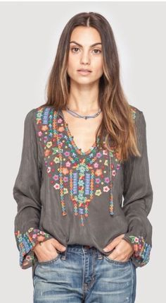 NWT Johnny Was Ditsy Flower Embroidered Silk Tunic $218 Size Small #JohnnyWas #Tunic