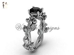 Platinum diamond leaf and vine, Fleur de Lis, enhanced Black Diamond engagement ring VD20859 - Wedding and engagement rings (*Amazon Partner-Link)