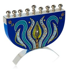 Ester Shahaf Blue Hanukkah Menorah with Blue Floral Pattern