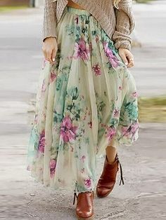 Shop Multicolor Floral Print Pleated Boho Maxi Skirt from choies.com .Free shipping Worldwide.$19.9