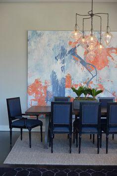 large art // blue velvet dining chairs // that chandelier