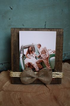 Rustic picture frame with burlap and twine
