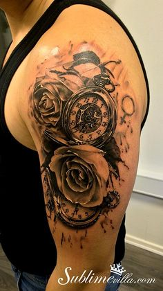 Beautiful pocket watch with roses