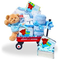The All-Boy Welcome Personalized  Basket Wagon Price: $99.00 #GiftBaskets4Baby…