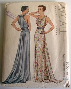 1930s McCall evening gown pattern