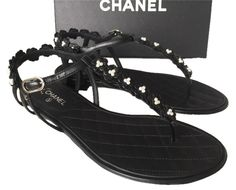 Get the must-have sandals of this season! These Chanel Black 2015 Camellia Flower Leather Flat Pearl Sandals Size US 7 Regular (M, B) are a top 10 member favorite on Tradesy. Save on yours before they're sold out! Pearl Sandals, Chanel Sandals, Black Sandals, Shoes Sandals, Chanel 2015, Chanel Camellia, Black Leather Flats, Chanel Black, Pearls