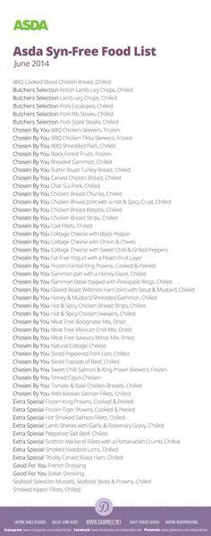 #Asda Syn-Free Shopping List on the #SlimmingWorld #ExtraEasy plan - June 2014