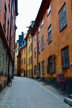 Stockholm, Sweden. This looks exactly like the road right behind where our hostel was in old town. cute but cold!
